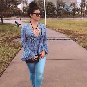 Stripped blue and white blouse